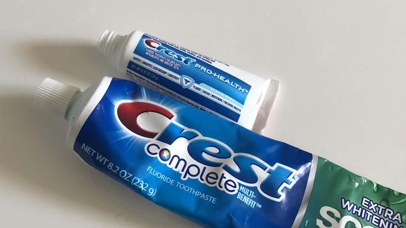 different size of toothpaste